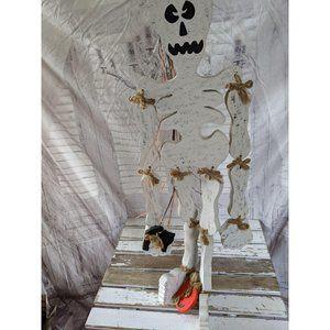 Large hanging wooden skeleton folk art country Hal